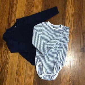 2 H&M organic cotton long sleeve onesies (9-12 mo)